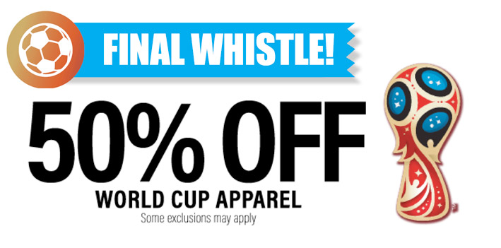 World Cup Apparel 50% Off